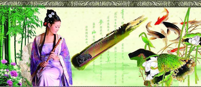 古代古筝美女手绘